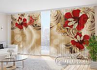 """Фото Шторы в зал """"Красные цветы и стразы"""" 2,7м*2,9м (2 полотна по 1,45м), тесьма"""