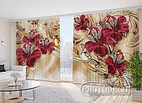 """Фото Шторы в зал """"Красные цветы и стразы 2"""" 2,7м*2,9м (2 полотна по 1,45м), тесьма"""