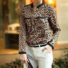 Женская блузка леопардовая с длинным рукавом - S (бюст 86-88см, плечо 37см), креп шифон, на пуговицах