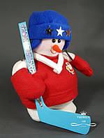 Мягкая новогодняя игрушка Снеговик-Хоккеист 26 см