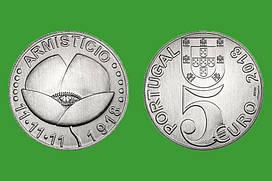Португалия 5 евро 2018 г. 100 лет окончания первой мировой войны , UNC
