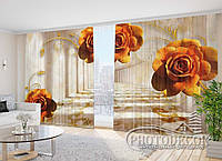 """Фото Шторы в зал """"Оранжевые розы"""" 2,7м*2,9м (2 полотна по 1,45м), тесьма"""