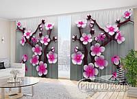 """Фото Шторы в зал """"Розовое Цветочное дерево"""" 2,7м*5,0м (2 полотна по 2,5м), тесьма"""