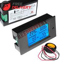 Цифровой вольтметр амперметр ваттметр AC 80-260В 99.9А 0-22кВт, LED