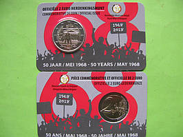 Бельгия 2 евро 2018 г. 50-летие студенческих волнений в мае 1968 года . UNC
