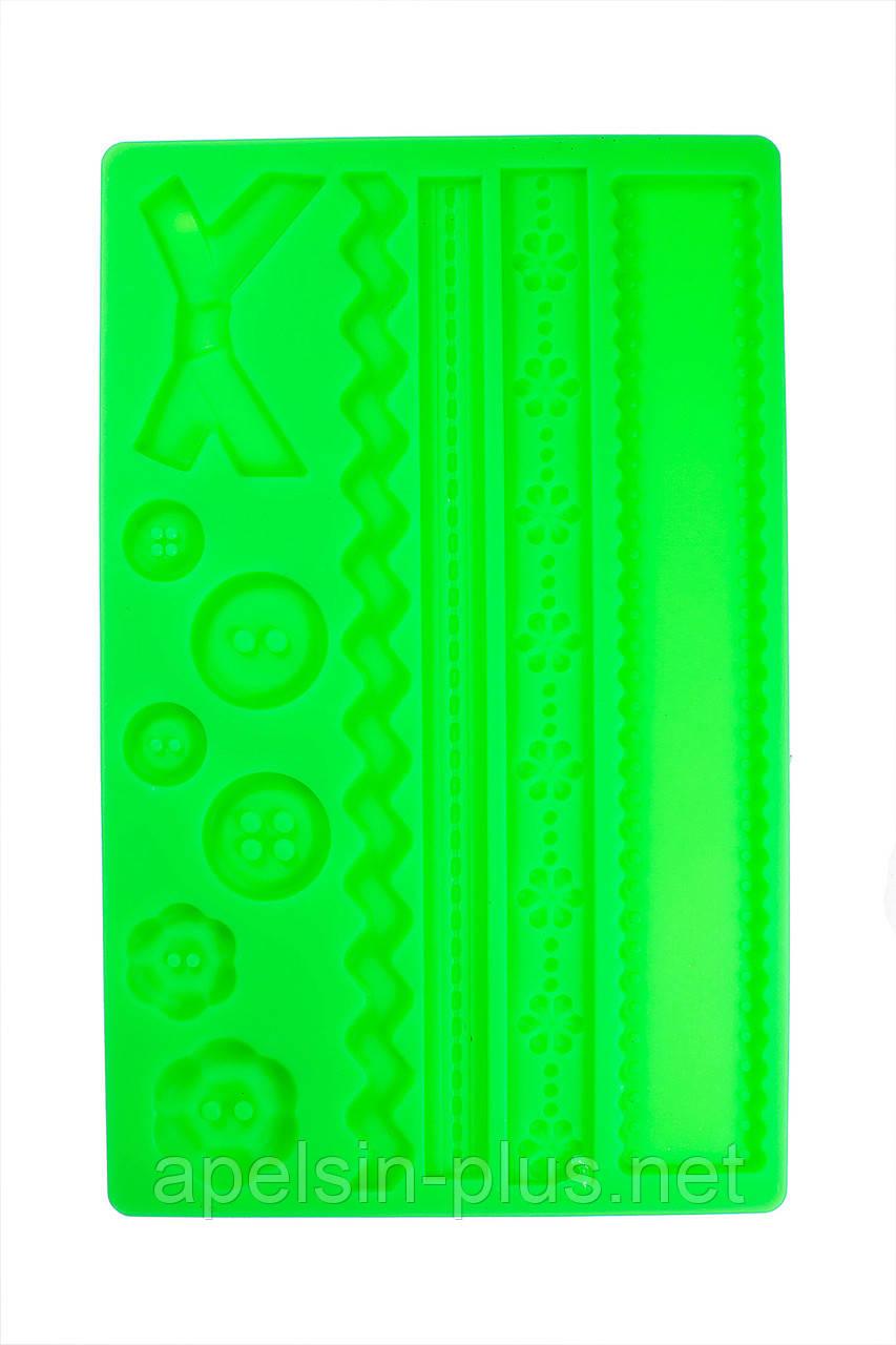 """Молд силиконовый для декора """"Пуговки,бордюры,кружева"""" 12,5 см 19,5 см"""