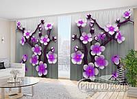 """Фото Шторы в зал """"Фиолетовое Цветочное дерево"""" 2,7м*5,0м (2 полотна по 2,5м), тесьма"""
