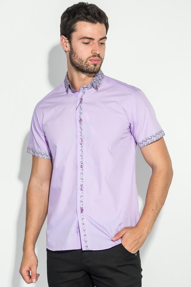 13e32faea36 Рубашка Мужская Цветочный Воротник 50P021 (Сиреневый) — в Категории