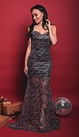 Роскошное платьев пол на тонких бретелях из сетки с узоромс красивым декольте42, 44