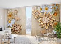 """Фото Шторы в зал """"Цветы и драгоценности"""" 2,7м*2,9м (2 полотна по 1,45м), тесьма"""