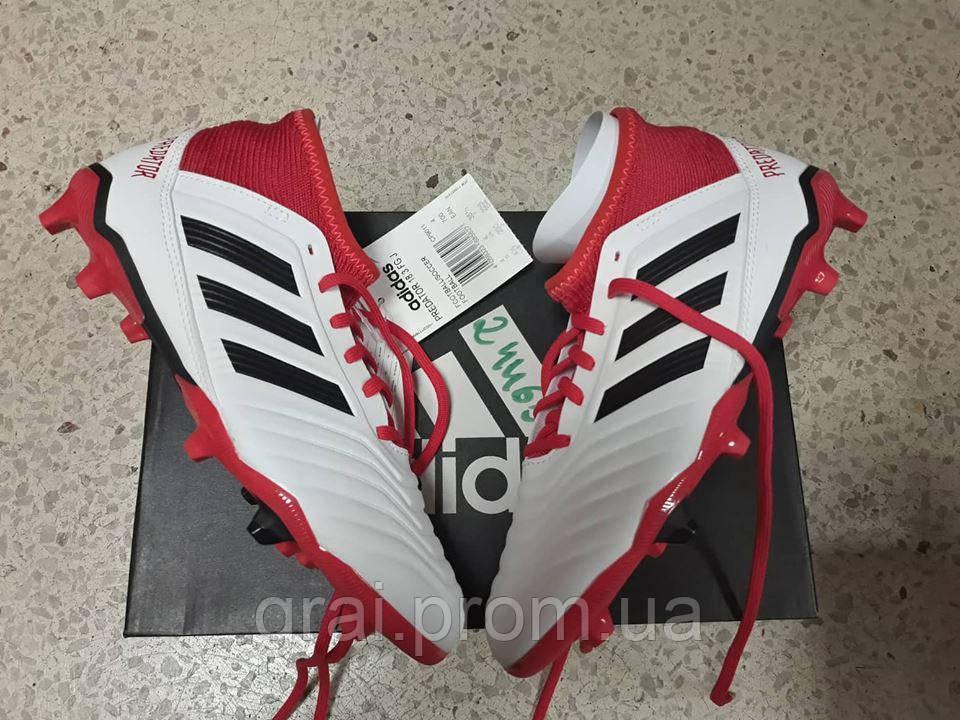 d3906b48 Детские Бутсы Adidas Predator 18.3 FG/AG White/Black/Red — в ...