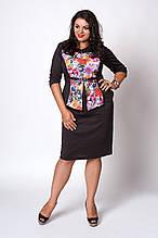 Красивое женское платье с баской из итальянского трикотажа 52-56