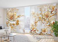 """Фото Штори в зал """"Квіти на гілках"""" 2,7 м*4,0 м (2 полотна по 2,0 м), тасьма"""