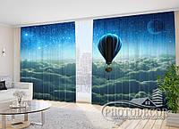 """Фото Шторы в зал """"Шар над облаками"""" 2,7м*2,9м (2 полотна по 1,45м), тесьма"""