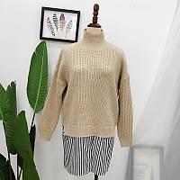 Бежевий светр з імітацією сорочки, фото 1
