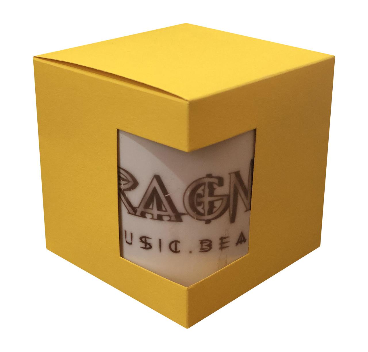 Картонная упаковка для кружек с дизайнерского картона, желтая