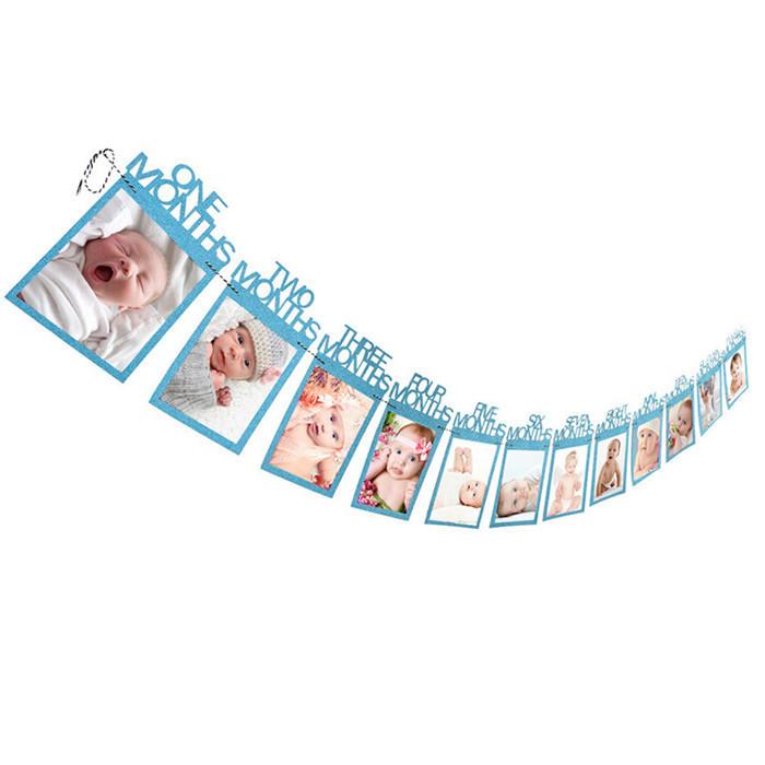 """Гірлянда для фото """"Мої перші 12 місяців"""", блакитний"""