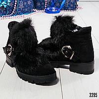 Ботинки женские с натуральным мехом, цвет-черный, фото 1
