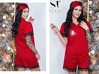 Пижама женская хлопок, декор нашивка, фото 1