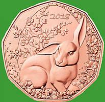 Австрия 5 евро 2018 г. Пасхальный кролик , UNC.