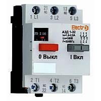 Автоматический выключатель защиты двигателя АЗД 1-32 3 полюса 1,6А 380В с доп. контактом, фото 1