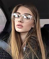 Имиджевые очки кошка круглые Прозрачный