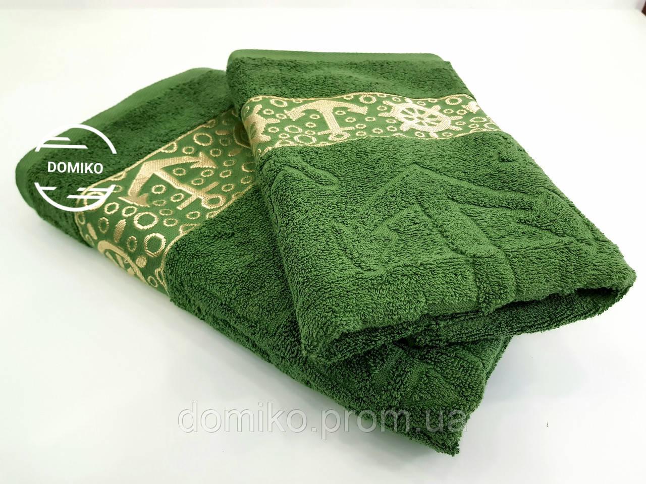 Полотенце махровое 70*140 Якорь зеленый болотный