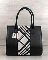 Черная сумка 31626 саквояж каркасная классическая с белой вставкой, фото 1