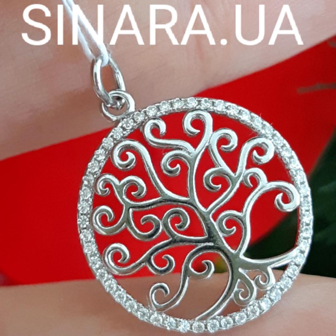 Древо Жизни кулон серебряный женский с фианитами - Подвеска Дерево Жизни родированное серебро 925