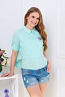"""Летняя блуза до коротких рукав  """"Палермо"""" с асимметричным низом мятный"""