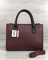 Бордовая сумка 56107 саквояж матовая деловая, фото 1