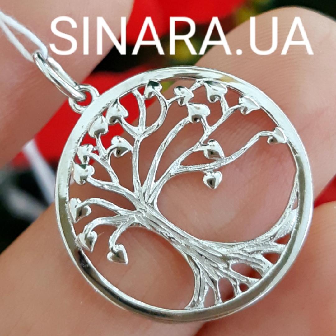 Серебряный кулон Дерево Жизни родированный - Древо Жизни подвеска серебро 925