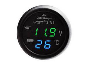 Годинники електронні автомобільні VST 706-4 USB (зелений/синій)