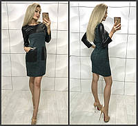 Приталена сукня ангора з вставками еко шкіра