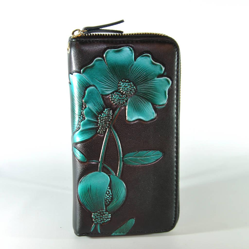 Женский кожаный кошелек с технологией RFid Bauhinia Green черный