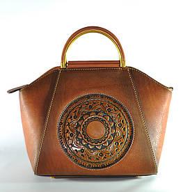 Женская кожаная сумка ручной работы Antigona brown коричневая