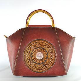 Женская кожаная сумка ручной работы Antigona red красная