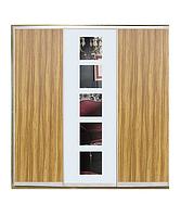 Шкаф-купе ДСП/Зеркало с рисунком пескоструй на 1 двери трехдверный Классик TM Matroluxe
