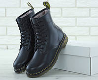 Ботинки женские Dr.Martens зимние с мехом кожаные стильные высокие на  шнуровке (черные) 72c83ec956f12