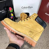 170209924166 Мужские кожаные зимние ботинки Timberland 6-Inch Premium Waterproof желтые  тимберленд