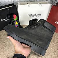 Мужские кожаные зимние ботинки Timberland 6-Inch Premium Waterproof черные  тимберленд d1cd7505b67d0