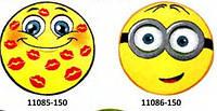 Коврик круглый цветной с рисунком Смайл разные