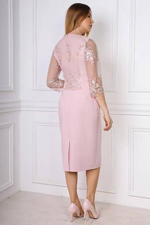 Стильное нарядное прилегающее платье со вставками евросетки, фото 2