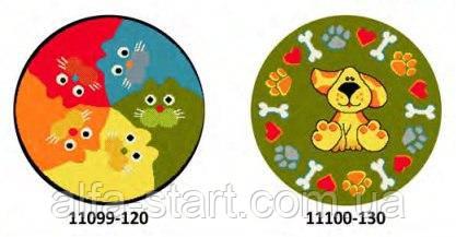 Коврик круглый цветной с рисунком Кошка,Собака