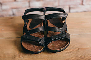 Мужские сандали кожаные летние черные-коричневые StepWey 1072