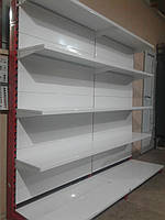 Торговые металлические стеллажи б у, стеллаж торговый б/у, металлические пристенные стеллажи б у, фото 1