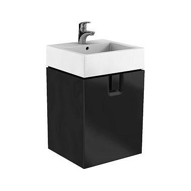 Kolo TWINS шафка під умивальник 50 см з одним ящиком, чорний матовий