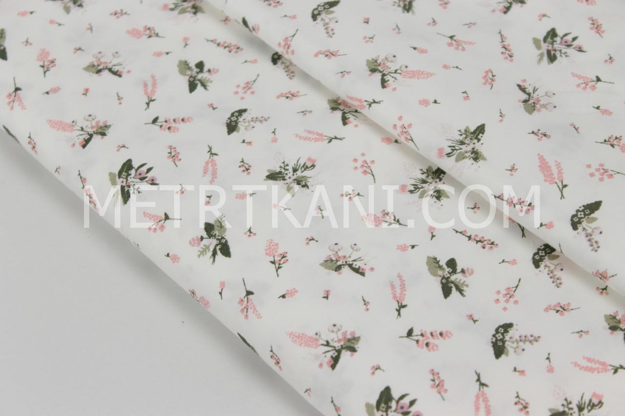 """Сатин  """"Мелки цветы анемоны """" компаньон  на белом  фоне № 160-06 с"""