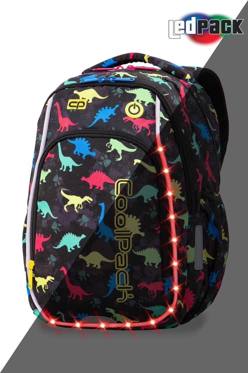 Рюкзак CoolPack LED 19L, модель Dinosaurs Strike S (38x28x18см)