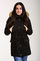 Парка зимняя женская Node City теплая молодежная качественная стильная черная с капюшоном, ОРИГИНАЛ, фото 1